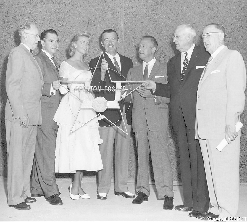 1958 Dorothy Malone and Preston Foster with Hollywood civic leaders during the 1st  Walk of Fame construction/installation ceremony at Hollywood Blvd. & Highland Ave.