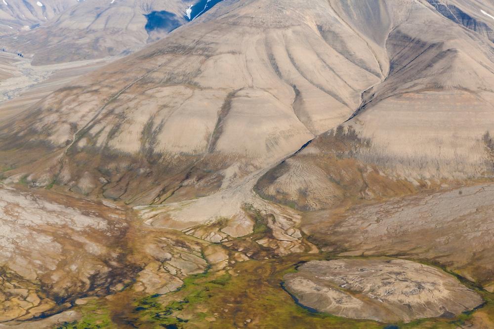 Patterns of erosion on hillsides in Spitsbergen, Svalbard.