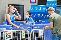 TOKIO -  Laurien Leurink (NED) staat  in de mixed zone de pers te woord tijdens de hockeywedstrijd vrouwen, Nederland-Zuid Afrika (5-0)   tijdens de Olympische Spelen van Tokio 2020  .  COPYRIGHT KOEN SUYK