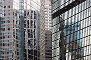 Glass and chrome skyscrapers in Hong Kong Financial District, Connaught Road, China