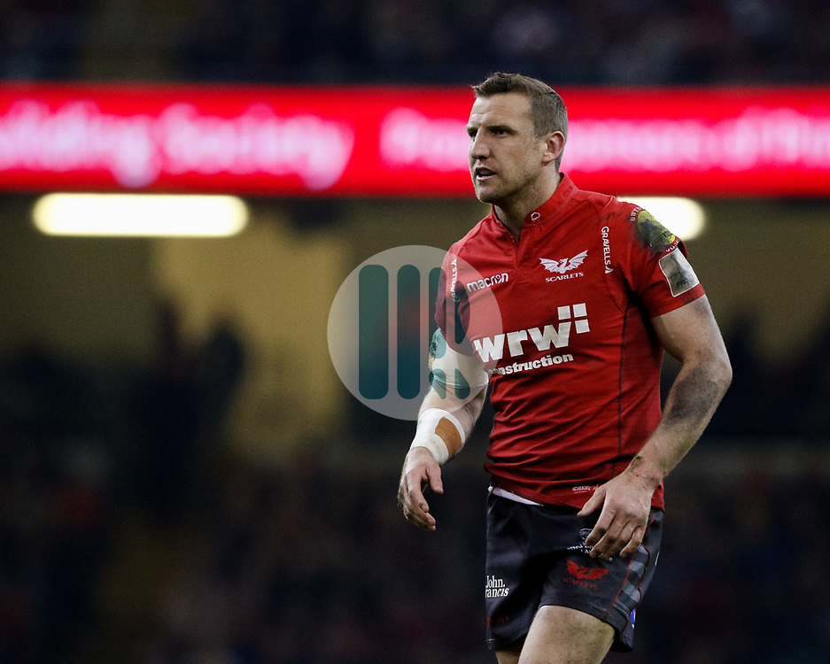 Scarlets' Hadleigh Parkes<br /> <br /> Photographer Simon King/Replay Images<br /> <br /> Guinness PRO14 Round 21 - Dragons v Scarlets - Saturday 28th April 2018 - Principality Stadium - Cardiff<br /> <br /> World Copyright © Replay Images . All rights reserved. info@replayimages.co.uk - http://replayimages.co.uk