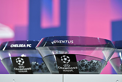 NYON, SWITZERLAND - Monday, December 14, 2020: The draw pot for Juventus during the UEFA Champions League 2020/21 Round of 16 draw at the UEFA Headquarters, the House of European Football. (Photo Handout/UEFA)