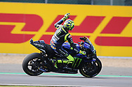 #46 Valentino Rossi, Italian: Movistar Yamaha MotoGP salutes the crowd during the GoPro British MotoGP at Silverstone, Towcester, United Kingdom on 25 August 2019.