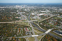 Aerial photo of the Nashville Skyline showing I-65, I-440 and Woodmont Boulevard in the foreground.