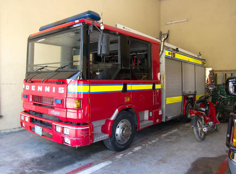 San Pedro, Belize 8/31/2012.The San Pedro Fire Department, and its British-made truck..Alex Jones / www.alexjonesphoto.com