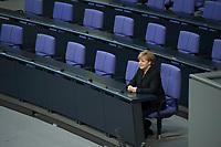 17 DEC 2013, BERLIN/GERMANY:<br /> Angela Merkel, CDU, Bundeskanzlerin, sitzt nach Ihrer Vereidigung allein in der Regierungsbank, 4. Sitzung des Deutschen Bundestages mit Vereidigung der Bundeskanzlerin, Plenum, Deutscher Bundestag<br /> IMAGE: 20131217-01-049<br /> KEYWORDS: Eid, Eidesformal, spricht, sprechen, Amtseid,