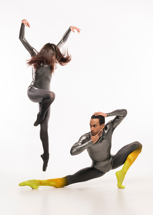 """Seo Hye Han and Ricardo Santos in Karole Armitage's """"Bitches Brew"""" in costumes by Peter Speliopoulos for Boston Ballet's 'Mirrors' Ad campaign"""