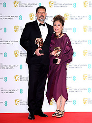 Sergio Pablos and Jinko Gotoh with their award for Best Animation in the press room at the 73rd British Academy Film Awards held at the Royal Albert Hall, London.