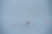 Hamburg. GERMANY.   CAN JW2-. Misty, Foggy,  atmospheric, conditions, Friday, Morning training at the 2014 FISA Junior World rowing. Championships.  07:53:58  Friday  08/08/2014  [Mandatory Credit; Peter Spurrier/Intersport-images] © Peter SPURRIER, Atmospheric, Rowing