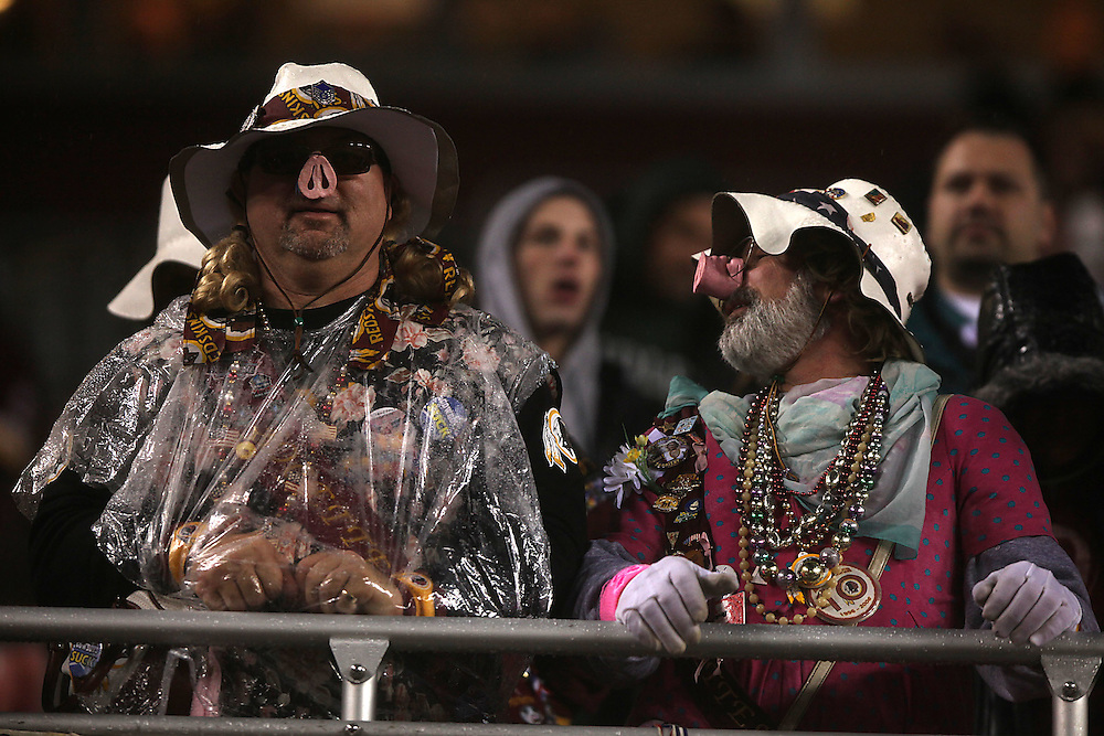 Landover, Md., Nov. 15, 2010 - Redskins vs. Eagles - The Hoggettes look on in disgust.  (Photo by  Jay Westcott/TBD)