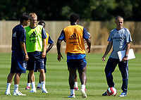 Photo: Daniel Hambury.<br />Chelsea Training Session. The Barclays Premiership. 24/07/2006.<br />Jose Mourinho (far right) during training with Arjen Robben (2nd left) and others.