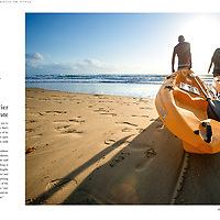 Kayakers on Four Mile Beach, Port Douglas, form part of a spread on Molori Resort, for Australia In Style