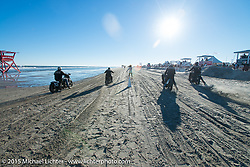 Four-up Harley-Davidson sand drags at the Race of Gentlemen. Wildwood, NJ, USA. October 11, 2015.  Photography ©2015 Michael Lichter.