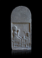 Neo Hittite basalt funerary stele with an aramean inscription from Neirab or Tell Afis, Syria, 7th cent BC. Louvre Museum. Black background