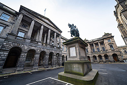 View of Court of Session and Supreme Court buildings in Parliament Square in Edinburgh Old Town, Scotland, UK