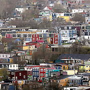 An upper view of the jellybean houses that dot the hills of St. John's, Newfoundland and Labrador, Canada, on Monday, June 4, 2019. Viewed from one of the trails on Signal Hill. THE BLADE/KURT STEISS <br /> MAG NewfoundlandXX