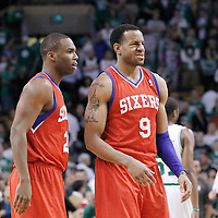 14 May 2012: Philadelphia Sixers guard Jodie Meeks (20) and Philadelphia Sixers small forward Andre Iguodala (9) celebrate during the Philadelphia Sixers 82-81 victory over the Boston Celtics, in Game 2 of the Eastern Conference semifinals playoff series, at the TD Banknorth Garden, Boston, Massachusetts, USA.