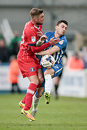 Nathan Thomas (Hartlepool United) and Gary Liddle (Carlisle United) collide in midfield during the EFL Sky Bet League 2 match between Hartlepool United and Carlisle United at Victoria Park, Hartlepool, England on 14 April 2017. Photo by Mark P Doherty.