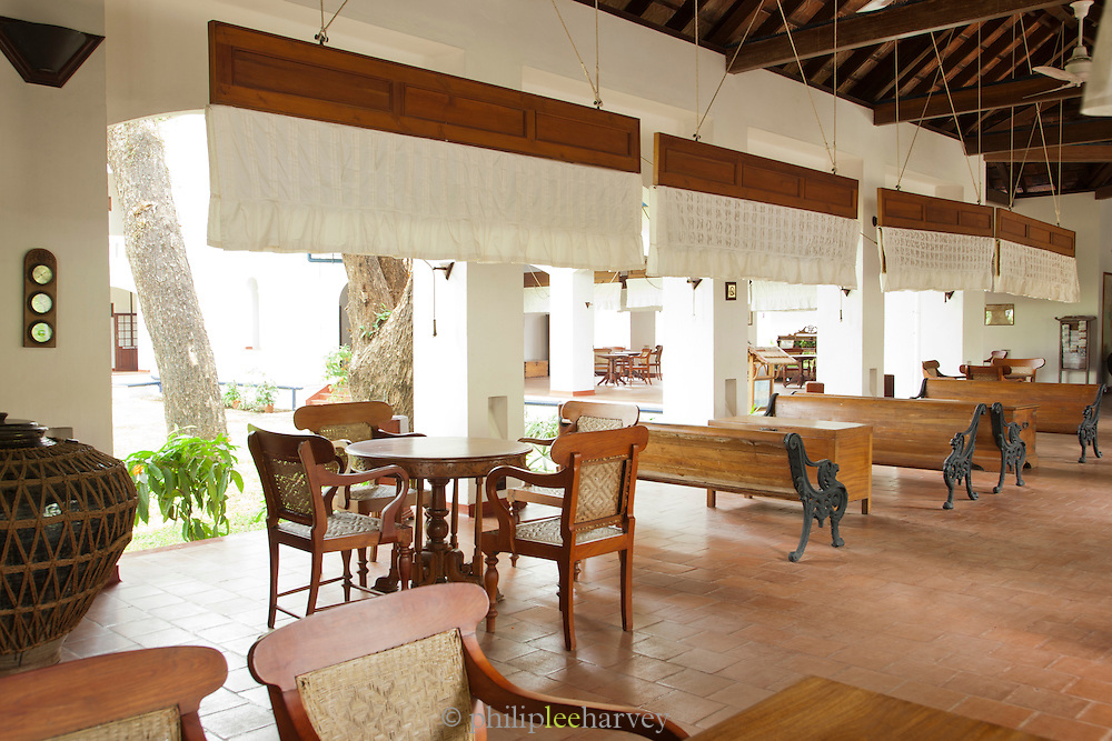 Inside The Brunton Boatyard Hotel, an old colonial building in Fort Cochin, Kerala, India