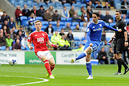 Cardiff's Peter Whittingham (r) shoots at goal. EFL Skybet championship match, Cardiff city v Nottingham Forest at the Cardiff City Stadium in Cardiff, South Wales on Easter Monday 17th April 2017.<br /> pic by Carl Robertson, Andrew Orchard sports photography.
