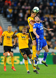 Leander Dendoncker of Wolverhampton Wanderers heads the ball  - Mandatory by-line: Nizaam Jones/JMP - 02/03/2019 - FOOTBALL - Molineux - Wolverhampton, England -  Wolverhampton Wanderers v Cardiff City - Premier League