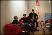 JAMES FRANCO; ANDREA-LUCA MINA; LUCA KHALIL, James Franco exhibition 'Fat Squirrel' at Siegfried Contemporary, Basset Rd, London W10. 23 November 2014.