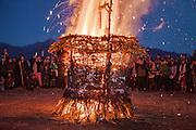 Community gathering for burning basket.