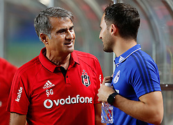 ZHUHAI, July 19, 2017  Senol Gunes (L), head coach of Besiktas JK talks with Domenico Tedesco, head coach of FC Schalke 04 ahead of a pre-season soccer match between Bundesliga's FC Schalke 04 and Turkish Super League champion Besiktas JK at Zhuhai Sports Center Stadium in Zhuhai, south China's Guangdong Province, July 19, 2017. FC Schalke 04 won 3-2. (Credit Image: © Wang Lili/Xinhua via ZUMA Wire)
