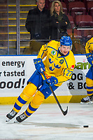 KELOWNA, BC - DECEMBER 18:  David Gustafsson #27 of Team Sweden warms up with the puck against the Team Russia at Prospera Place on December 18, 2018 in Kelowna, Canada. (Photo by Marissa Baecker/Getty Images)***Local Caption***