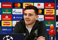 Football - 2019 / 2020 season - Liverpool training & press conference pre-Atletico Madrid<br /> <br /> Andrew Robertson of Liverpool speaking to the media during today's press conference ahead of tomorrow's Champions League match against Atletico Madrid, at Anfield.<br /> <br /> COLORSPORT/ALAN MARTIN