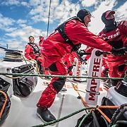 Leg 3, Cape Town to Melbourne, day 03,  Blair Tuke and Tamara Echegoyen on board MAPFRE. Photo by Jen Edney/Volvo Ocean Race. 14 December, 2017.