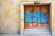 Graffiti street art on University of Salamanca, Spain