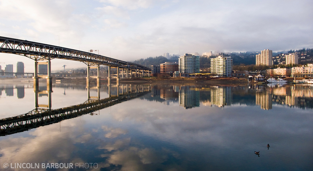 Marquam Bridge and Portland City View on a foggy morning