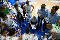 Zmago Sagadin, head coach of Slovenia with players during basketball match between National teams of Slovenia and Lithuania in Preliminary Round of U20 Men European Championship Slovenia 2012, on July 14, 2012 in Domzale, Slovenia. Slovenia defeated Lithuania 87-81. (Photo by Vid Ponikvar / Sportida.com)