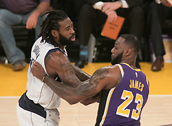 October 31, 2018 - Los Angeles, California, U.S - LeBron James #23 of the Los Angeles Lakers goes battles for position with DeAndre Jordan #6 of the Dallas Mavericks during their NBA game on Wednesday October 31, 2018 at the Staples Center in Los Angeles, California. (Credit Image: © Prensa Internacional via ZUMA Wire)
