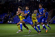Peterborough United midfielder Colin Daniel (3) and AFC Wimbledon defender Will Nightingale (5) during the EFL Sky Bet League 1 match between Peterborough United and AFC Wimbledon at The Abax Stadium, Peterborough, England on 27 November 2018.