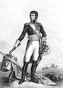 Jean Baptiste Jules Bernadotte  (1763-1844) French revolutionary soldier: Marshal of France under Napoleon: elected Crown Prince of Sweden 1810: King Charles XIV John (1818-1844). Engraving after portrait by FJ Kinson showing him standing beside a mortar.