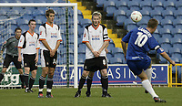 Photo. Aidan Ellis.Digitalsport<br /> Stockport County v Luton Town.<br /> Coca-Cola League Division 1.<br /> 18/09/2004.<br /> Stockport's Rickie Lambert curls the ball round the luton wall to score from a free kick