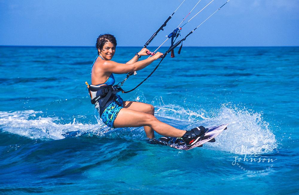 Australia, Qld., Great Barrier Reef, woman kitesurfing ***Model Release available