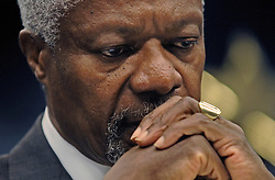 Kofi Annan U.N. Secretary General, is deep in thought during an extraordinary meeting of European foreign ministers and the United Nations. The emergency meeting was called to discuss European military deployment to Lebanon as part of the cease-fire agreement between Israel and Hezbollah, at the European Council headquarters in Brussels. (Photo © Jock Fistick)