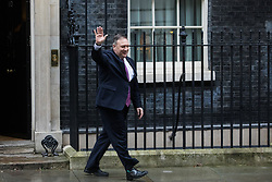 London, UK. 30 January, 2020. US Secretary of State Mike Pompeo leaves 10 Downing Street following a meeting with Prime Minister Boris Johnson. Topics discussed are expected to have included the role of Chinese multinational technology company Huawei in the construction of the UK's 5G digital network.