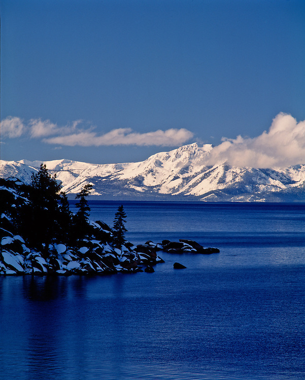 Lake Tahoe Winter Mountain Shoreline Lake Tahoe