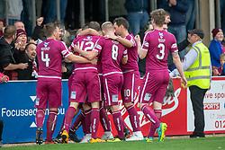 Arbroath's Steven Doris (hidden) cele scoring their second goal. Arbroath 3 v 1 Dumbarton, Scottish Football League Division One played 20/10/2018 at Arbroath's home ground, Gayfield Park.