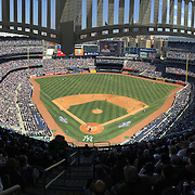 A panoramic view of a full Yankee Stadium during the New York Yankees Vs Toronto Blue Jays season opening day at Yankee Stadium, The Bronx, New York. 6th April 2015. Photo Tim Clayton