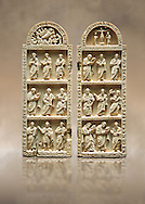 Medieval Christian ivory diptych depicting the Nativity, the crucifixion and the Profits. Thirteenth century probably from Byzantine Roman Constantinople, present day Istanbul. Inv. OA 12442, The Louvre Museum, Paris. .<br /> <br /> If you prefer you can also buy from our ALAMY PHOTO LIBRARY  Collection visit : https://www.alamy.com/portfolio/paul-williams-funkystock/byzantine-art-antiquities.html . Type -    louvre     - into the LOWER SEARCH WITHIN GALLERY box. Refine search by adding background colour, place, museum etc<br /> <br /> Visit our BYZANTINE MOSAIC PHOTO COLLECTION for more   photos  to download or buy as prints https://funkystock.photoshelter.com/gallery-collection/Roman-Byzantine-Art-Artefacts-Antiquities-Historic-Sites-Pictures-Images-of/C0000lW_87AclrOk
