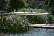 Lucerne, SWITZERLAND, 12th July 2018, Thursday Crew, Activity, on the boating docks, FISA World Cup III, Lake Rotsee, © Peter SPURRIER,