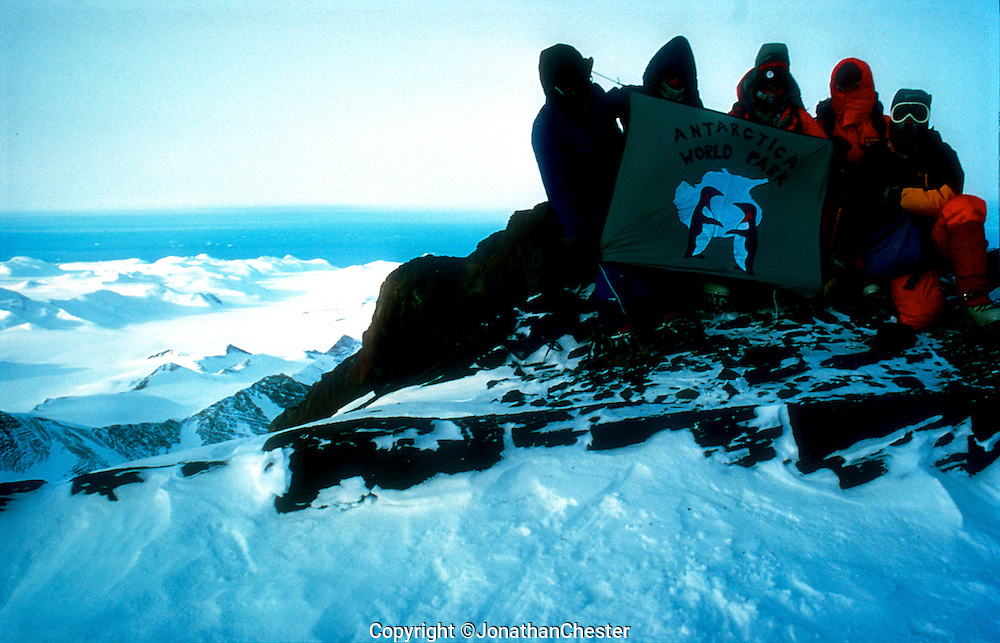 """Mt Minto Summit First Ascent -18 Feb 1988 by Greg Mortimer Chris Hilton Lincoln Hall Lyle Closs Glenn Photo Jonathan Chester.  Singleman. Australian Bicentennial Antarctic Expedition. (Feb 18th 1988) Greg Mortimer,Lyle Closs, Glenn Singleman,Chris Hilton Lincoln Hall (RIP) and Jonathan Chester made the first ascent of Mt Minto 4163m in Antarctica's, North Victoria Land on the epic  three-month-long """"Australian Bicentennial Antarctica Expedition"""""""