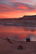 Camping in West Canyon at sunrise, Lake Powell, Glen Canyon National Recreation Area, Page, Arizona.