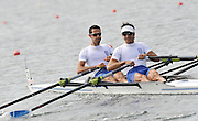 Marathon, GREECE,  GRE LM2X, Bow, Dimitrious MOUGIOS and Vasileios POLYMEROS, at the FISA European Rowing Championships.  Lake Schinias Rowing Course, FRI 19.09.2008  [Mandatory Credit Peter Spurrier/ Intersport Images] , Rowing Course; Lake Schinias Olympic Rowing Course. GREECE