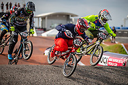 #974 (MAYET Romain) FRA [Nologo, Spad] and #593 (CAMPO Alfredo) ECU [Avian] at Round 8 of the 2019 UCI BMX Supercross World Cup in Rock Hill, USA